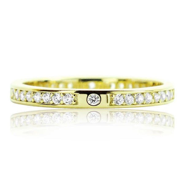 Beautiful 2.2mm Gold Plated 925 Sterling Silver Eternity CZ Ring - Jewelry - Prjewel.com - 1