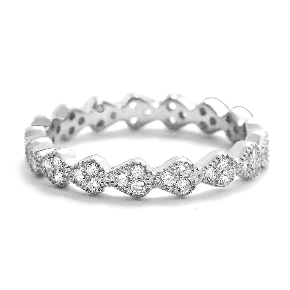 Cubic Zirconia 3.2mm Sterling Silver Eternity Ring
