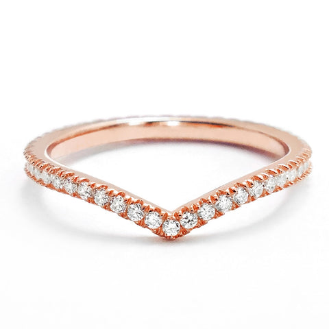 Elegant CZ Rose Gold Plated Sterling Silver Eternity Ring