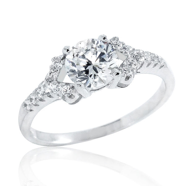 Beautiful 925 Sterling Silver 6mm Cubic Zirconia Ring - Jewelry - Prjewel.com - 1