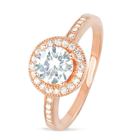 Brilliant CZ Rose Gold over Sterling Silver Ring