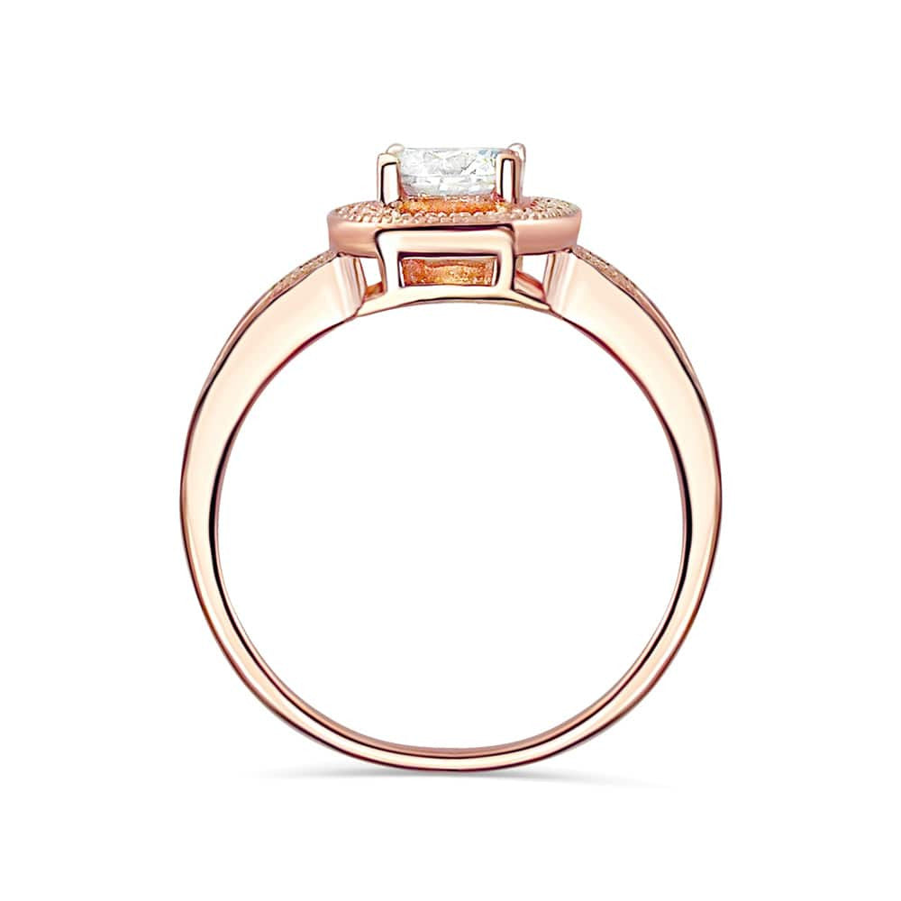 Brilliant CZ Rose Gold over Sterling Silver Ring 3