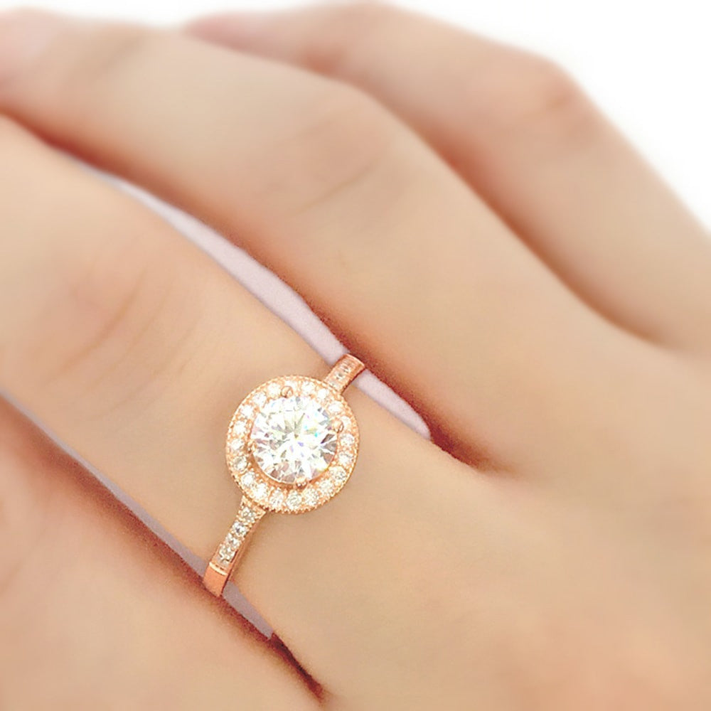 Brilliant CZ Rose Gold over Sterling Silver Ring 4