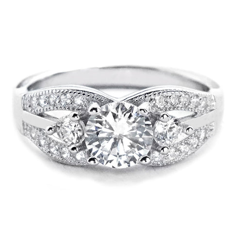Elegant Brilliant Cut Cubic Zirconia Sterling Silver Ring