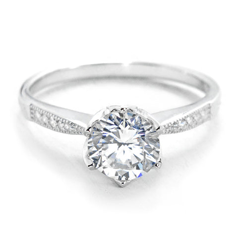 Fancy Flower 2.25 Carat Brilliant Cut Cubic Zirconia Sterling Silver Ring - Jewelry - Prjewel.com - 1