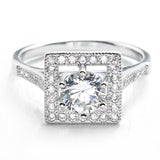 Elegant Cubic Zirconia 925 Sterling Silver Ring 10mm - Jewelry - Prjewel.com - 1