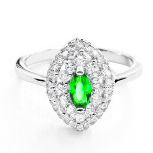 Marquise Green Crystal and Cubic Zirconia 925 Sterling Silver Ring - Jewelry - Prjewel.com - 1