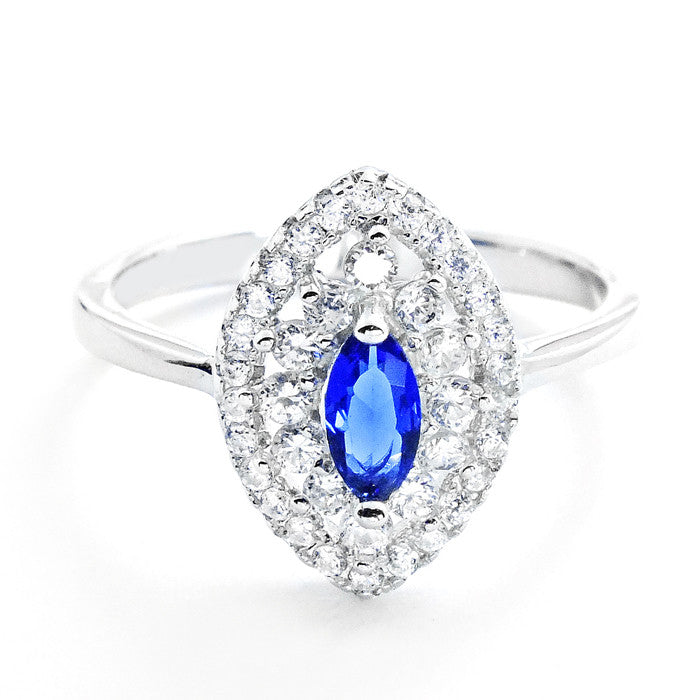 Marquise Blue Crystal and Cubic Zirconia 925 Sterling Silver Ring - Jewelry - Prjewel.com - 1