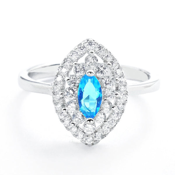 Marquise Sky Blue Crystal and Cubic Zirconia 925 Sterling Silver Ring - Jewelry - Prjewel.com - 1