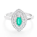 Marquise Aventurine Crystal and Cubic Zirconia 925 Sterling Silver Ring