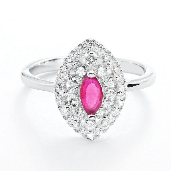 Marquise Dark Red Crystal and Cubic Zirconia 925 Sterling Silver Ring - Jewelry - Prjewel.com - 1