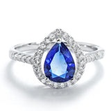 Pear Cut Blue Crystal and Cubic Zirconia 925 Sterling Silver Ring - Jewelry - Prjewel.com - 1