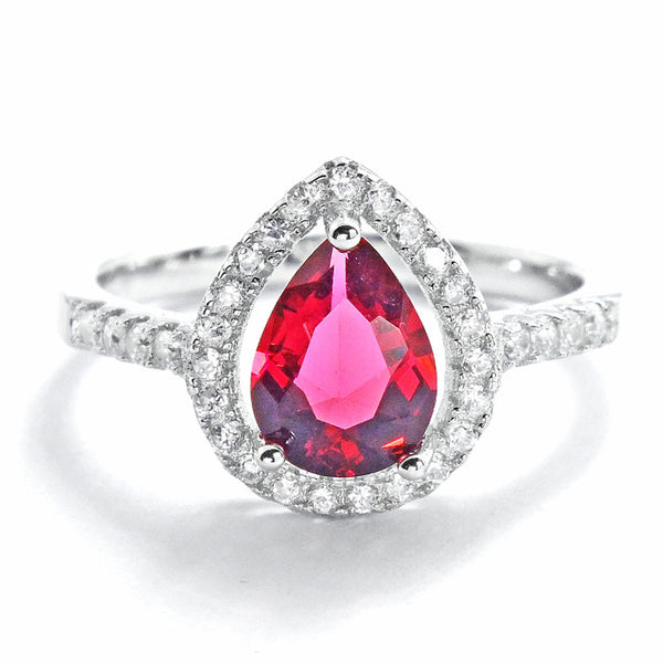 Pear Cut Red Crystal and Cubic Zirconia 925 Sterling Silver Ring