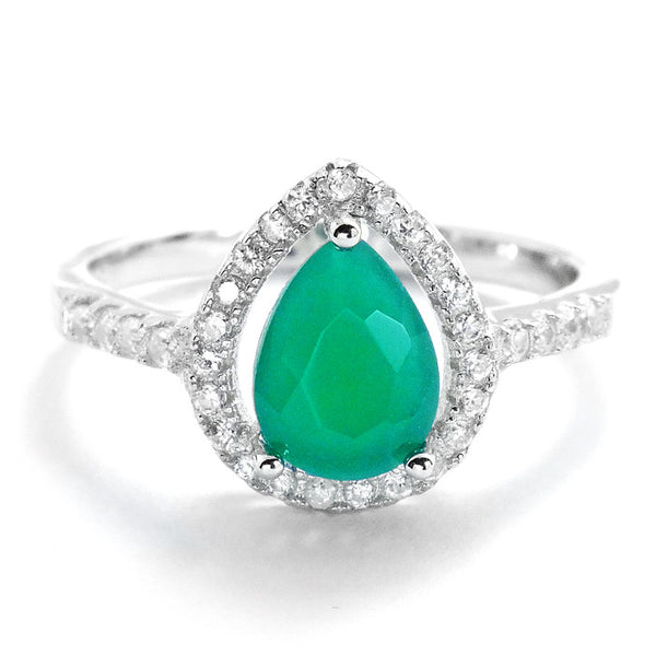 Pear Cut Aventurine Crystal and Cubic Zirconia 925 Sterling Silver Ring - Jewelry - Prjewel.com - 1