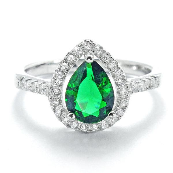 Pear Cut Green Crystal and Cubic Zirconia 925 Sterling Silver Ring