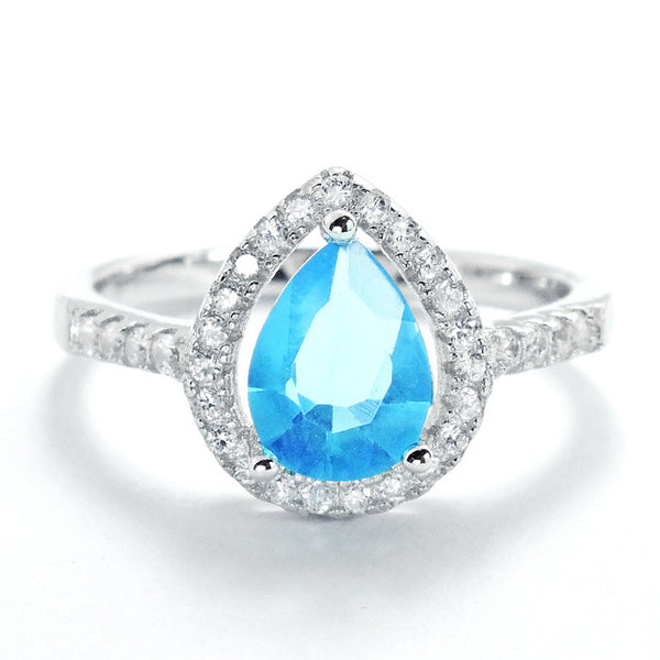 Pear Cut Sky Blue Crystal and Cubic Zirconia 925 Sterling Silver Ring - Jewelry - Prjewel.com - 1