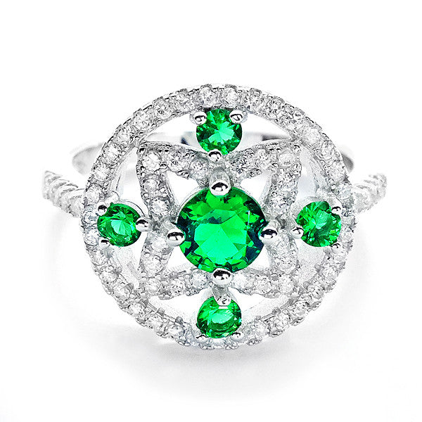 Glamorous CZ and Green Crystal 925 Sterling Silver Ring