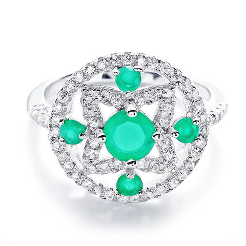 Glamorous CZ and Aventurine Crystal 925 Sterling Silver Ring - Jewelry - Prjewel.com - 1
