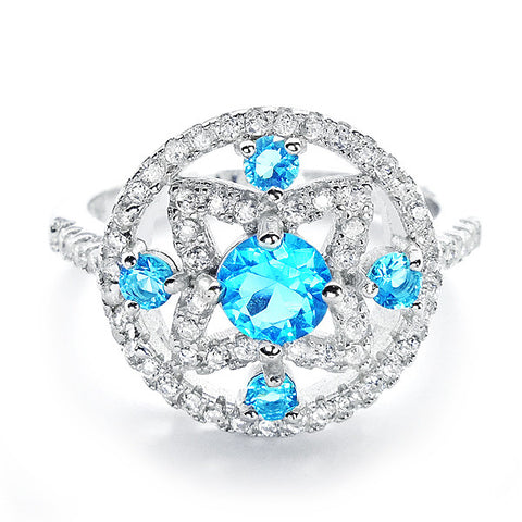 Glamorous CZ and Sky Blue Crystal 925 Sterling Silver Ring - Jewelry - Prjewel.com - 1