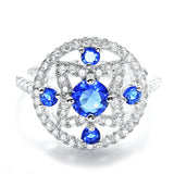 Glamorous CZ and Blue Crystal 925 Sterling Silver Ring - Jewelry - Prjewel.com - 1