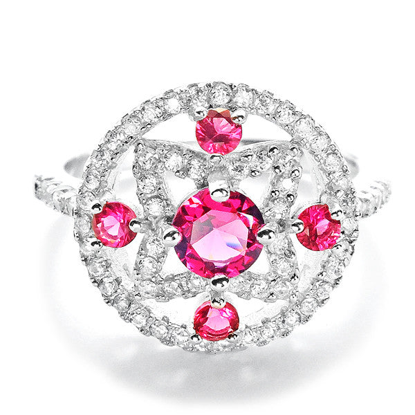 Glamorous CZ and Red Crystal 925 Sterling Silver Ring - Jewelry - Prjewel.com - 1