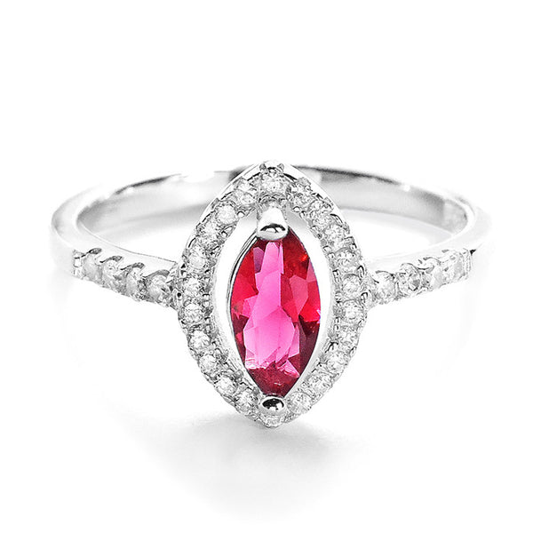 Modern Marquise Red Crystal and Cubic Zirconia 925 Sterling Silver Ring - Jewelry - Prjewel.com - 1