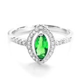 Modern Marquise Green Crystal and Cubic Zirconia 925 Sterling Silver Ring - Jewelry - Prjewel.com - 1