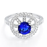 Fabulous CZ and Blue Crystal Sterling Silver Ring - Jewelry - Prjewel.com - 1