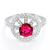 Fabulous CZ and Red Crystal 925 Sterling Silver Ring