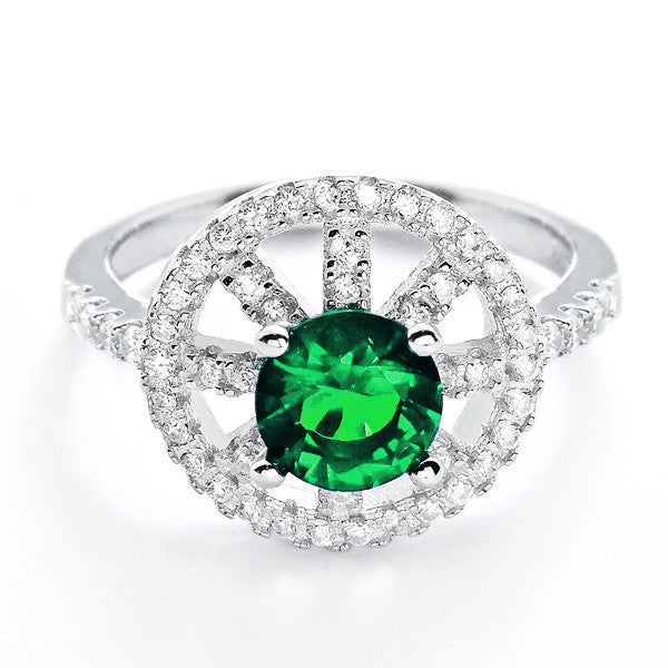 Fabulous CZ and Green Crystal 925 Sterling Silver - Jewelry - Prjewel.com - 1