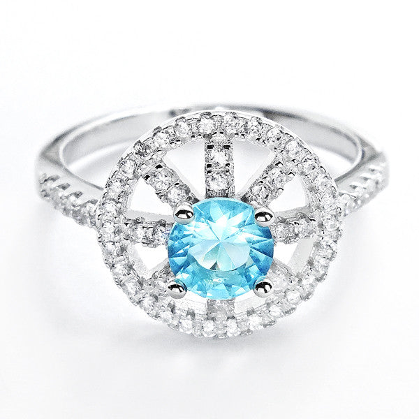 Fabulous CZ and Sky Blue Crystal 925 Sterling Silver Ring - Jewelry - Prjewel.com - 1