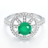 Fabulous CZ and Aventurine Crystal 925 Sterling Silver Ring - Jewelry - Prjewel.com - 1