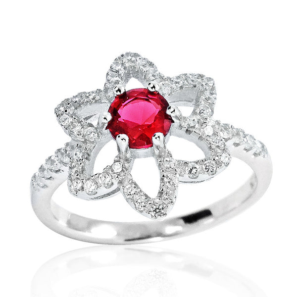 Fancy 925 Sterling Silver Red Crystal Cubic Zirconia Ring - Jewelry - Prjewel.com - 1
