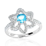 Fancy 925 Sterling Silver Sky Blue Crystal Cubic Zirconia Ring - Jewelry - Prjewel.com - 1