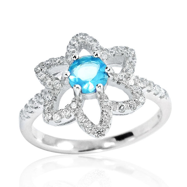 Fancy 925 Sterling Silver Sky Blue Crystal Cubic Zirconia Ring