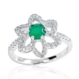 Fancy 925 Sterling Silver Aventurine Crystal Cubic Zirconia Ring - Jewelry - Prjewel.com - 1