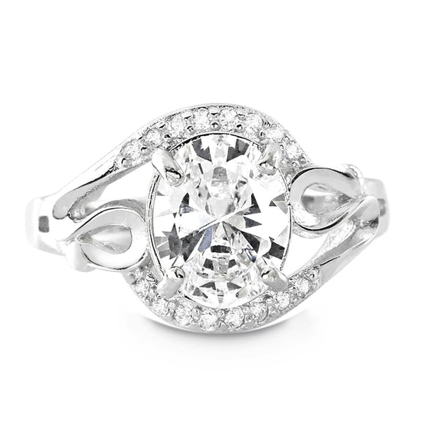 Sterling Silver 4.5 Carat Oval Cut Cubic Zirconia Ring - Jewelry - Prjewel.com - 1