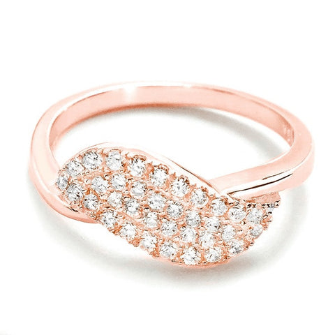Beautiful Pave Setting Cubic Zirconia Rose Gold Over Silver Ring - Jewelry - Prjewel.com - 1