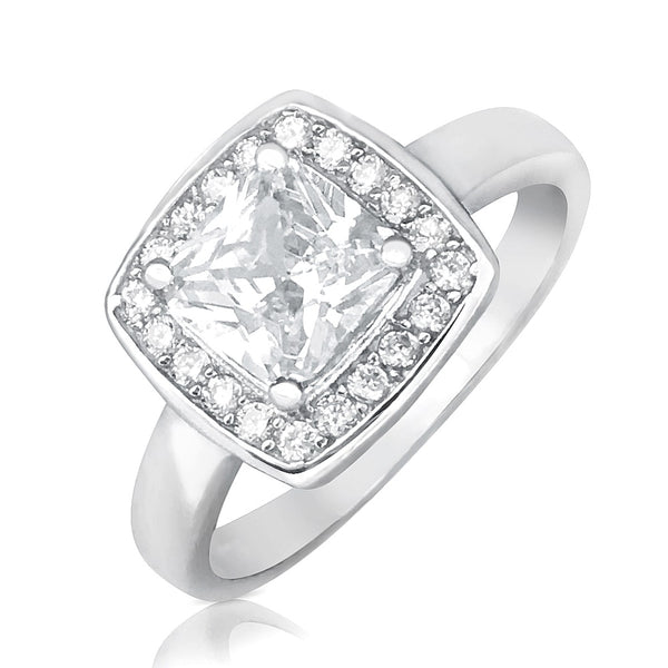 Princess Cut CZ 10mm Sterling Silver Ring