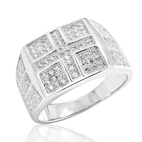 Micro Pave Setting Cubic Zirconia Unisex Silver Ring - Jewelry - Prjewel.com - 1