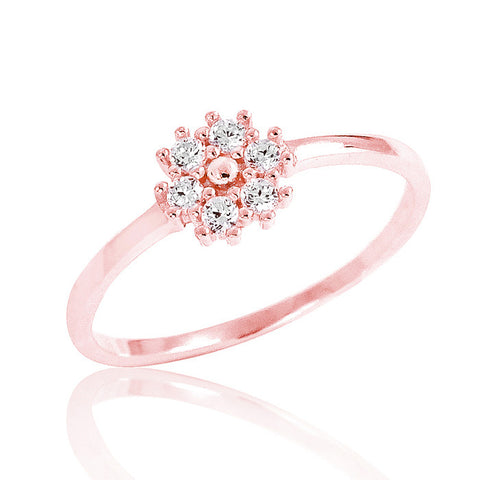 Rose Gold Plated 925 Sterling Silver Cubic Zirconia Beautiful Fancy Ring - Jewelry - Prjewel.com - 1