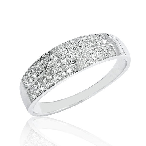 Sterling Silver Micro Pave Settings Cubic Zirconia Ring - Jewelry - Prjewel.com - 1