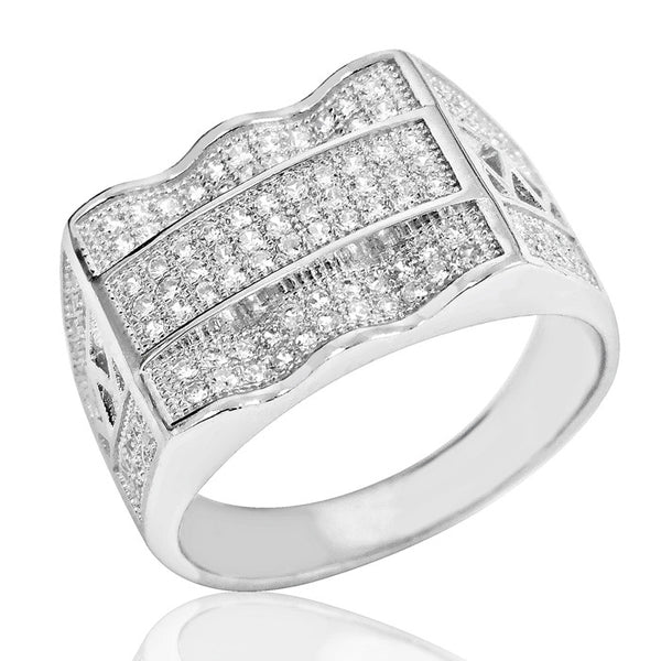 Micro Pave Settings Cubic Zirconia Unisex Silver Ring - Jewelry - Prjewel.com - 1