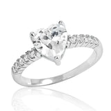 925 Sterling Silver Heart Cut Cubic Zirconia Ring - Jewelry - Prjewel.com - 1