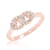 Fancy Rose Gold Plated 925 Sterling Silver CZ Ring 6mm