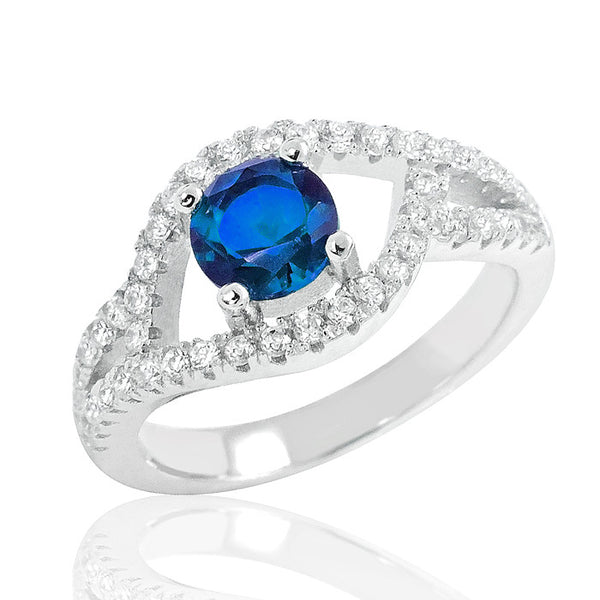 Exquisite Blue Crystal 925 Sterling Silver Ring - Jewelry - Prjewel.com - 1