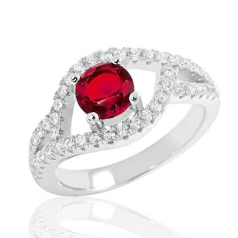 Exquisite Red Crystal 925 Sterling Silver Ring - Jewelry - Prjewel.com - 1