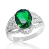 Fascinating Green Crystal 925 Sterling Silver Ring