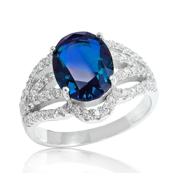 Fascinating Blue Crystal 925 Sterling Silver Ring