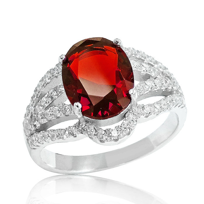 Fascinating Red Crystal 925 Sterling Silver Ring - Jewelry - Prjewel.com - 1